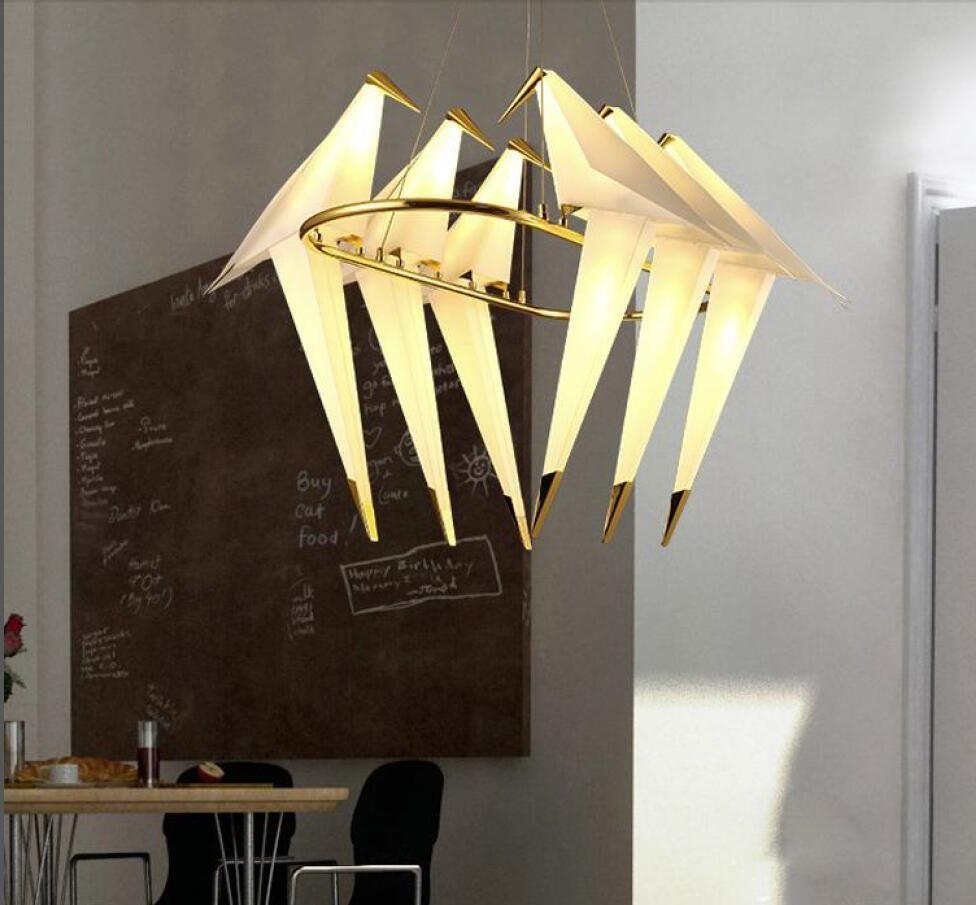 Lampe Suspension Papier Design acheter papier moderne lustre en métal lumière grue lampe tabel pour  restaurant salon salle À manger led chambre denfant bird room design lampe