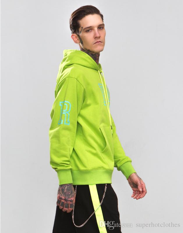 Yeni Trendy Floresan Yeşil Hoodies Erkekler Kadınlar Için 2018 Polar Kalın Casual Streetwear Kazak Kapşonlu