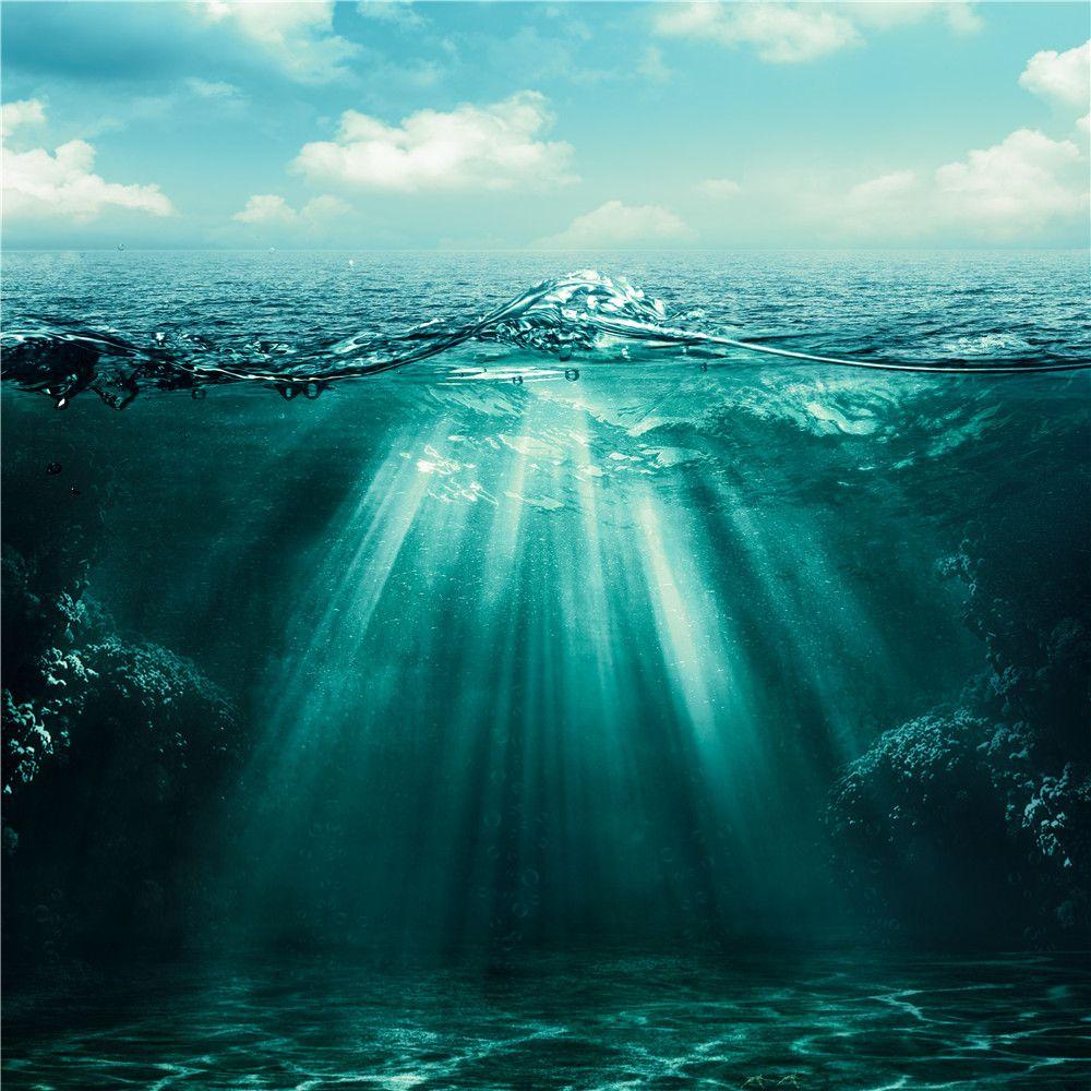 Fotografía escénica del océano profundo Telón de fondo Impreso Blue Sky White Clouds Sol a través de la superficie del mar de fondo naturales de Estudio