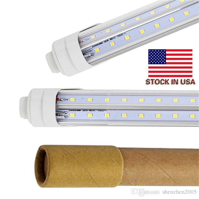 6ft led r17d Cooler Door Led Tube 4ft 6ft 8ft Dual Rows SMD2835 V-Shaped Led Light Tube 270 Angle AC85-265V UL DLC