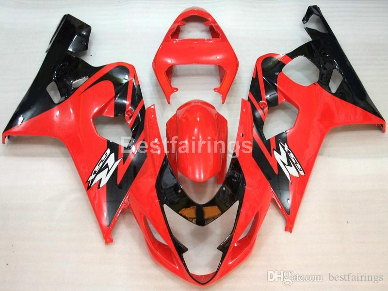 Горячая продажа обтекатель комплект для SUZUKI GSXR600 GSXR750 2004 2005 черный красный GSXR 600 750 K4 K5 обтекатели DD35