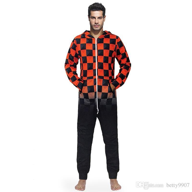 Hommes Combinaison Onesies Maison Vêtements Noir Rouge À Carreaux À Capuche Lâche Mode Automne Hiver Longue Nuit Vêtements De Loisirs