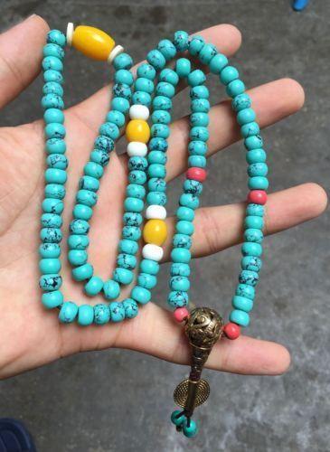 Bouddha bouddhiste tibétain turquoise s'inquiète perle de prière mala colliers