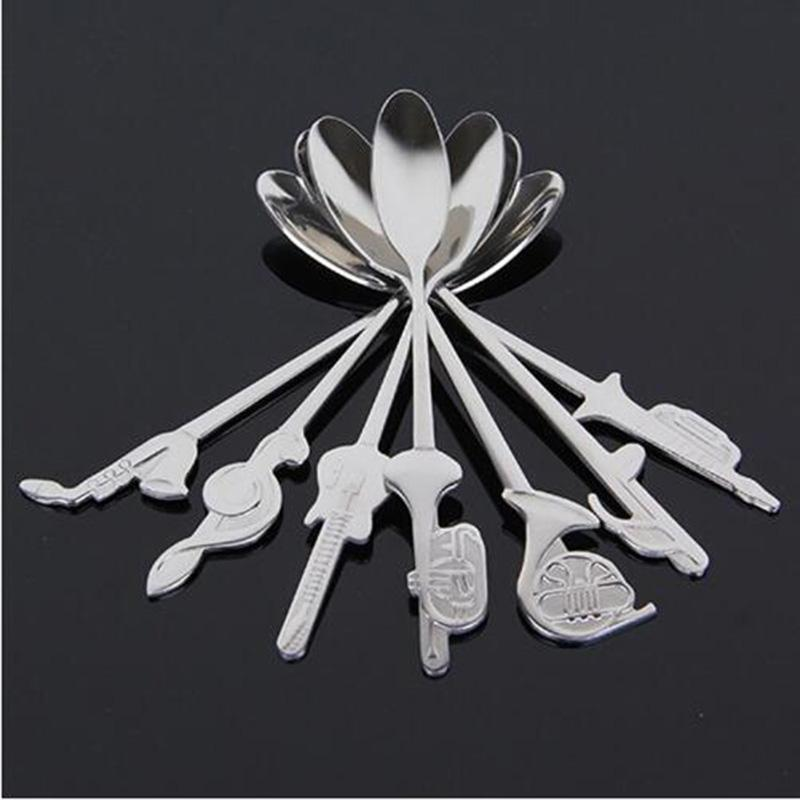 7pcs Eco-Friendly / Set de acero inoxidable divertido Disponible En la nota musical de herramienta de la cocina -Spoon té Instrumento cuchara de café único sopa -Spoon