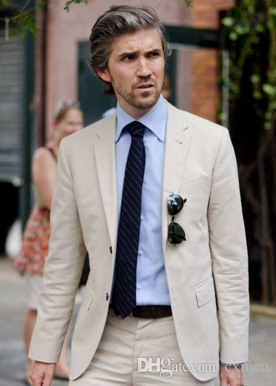 Summer Linen Men Suits for Wedding Slim Fit Groom Tuxedos Beach Beige Suit Blazer Two Button Handsome Groom Wear 2 Piece Jacket+Pants