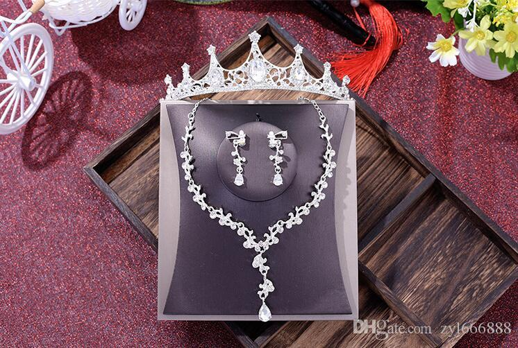 Золотой кристалл Корона ожерелье шпилька три комплекта