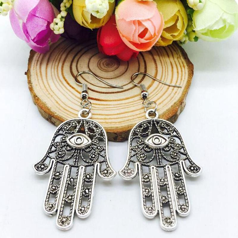 Antique Silver Evil Eye Hamsa Hand Charm Dangle Earring Europe United States Popular Creative Women Girl Jewelry Accessories Holiday Gift