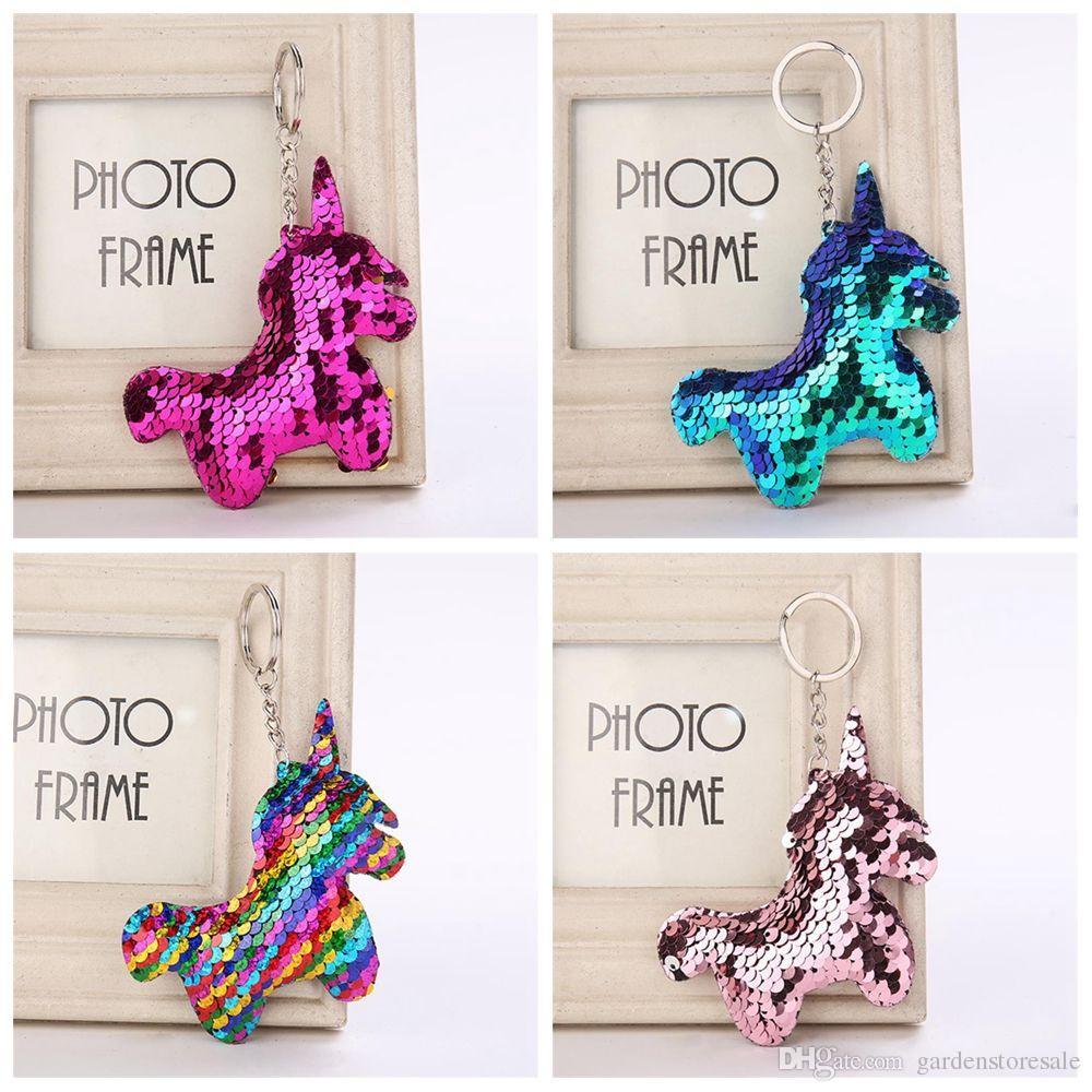 Lindo Shiny unicornio cuerno llavero moda sirena lentejuelas animales caballo llavero llaveros para mujeres bolsa de coche colgante de joyería