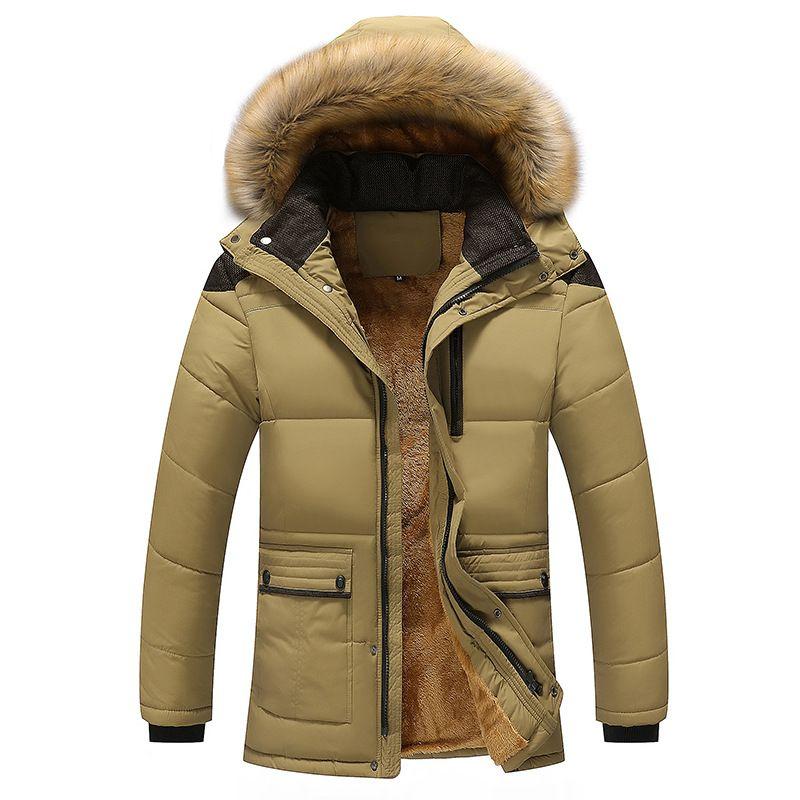 Hommes parka hiver bas vestes épaisses polaire col de fourrure à capuchon manteaux hommes veste décontractée mâle survêtement coupe-vent 5XL 2018 Nouveau