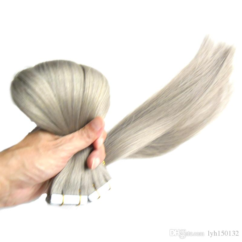 Grey Brazilian Hair Double Drawn Tape Extensions 100G 40pcs ash blonde Skin Weft Hair Extensions Tape 8a Micro Link Hair Extensions Human