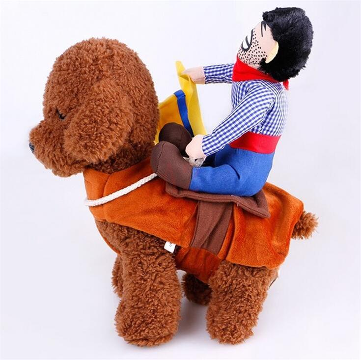 3 Designs Creative Pet Costume Halloween Cowboy Rider Pet Costume 4 Size Dog Cat Clothes Knight Style Funny Pet Party Cosplay Apparel