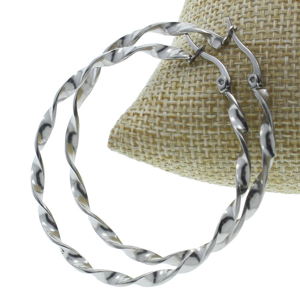 intero salePair Trendy Big Loop orecchini in acciaio inox Twist modo dell'orecchino punk rotonda dei monili Il grande cerchio orecchini a cerchio per le donne 2017