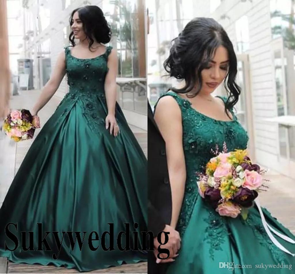 Smaragd Dark Green Abendkleider Scoop SpitzeAppliques Satin-Festzug-Ballkleid schnüren sich oben Korsett plus Größe formales Abend Partei-Abnutzungs-Brautkleid