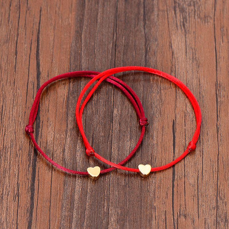 Altın Renk Kalp Bilezik Gümüş El Yapımı Takı Renkli Halat Ayarlanabilir Dize Şanslı Bilezik Kadınlar Için