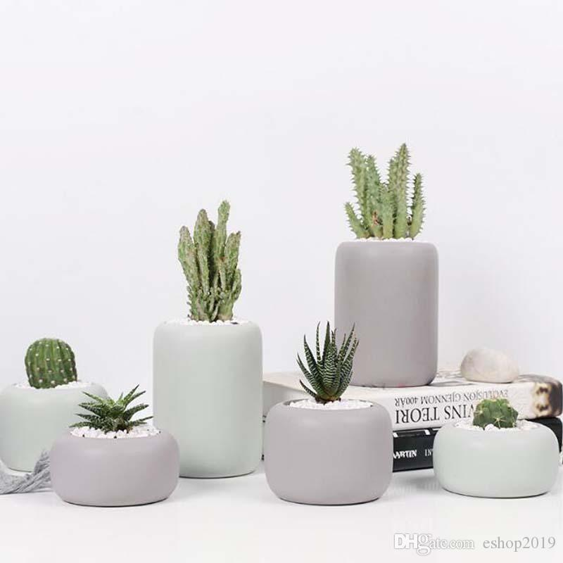 Cylindrical Ceramic Planters Set - 3pcs Matt Porcelain Flowerpot Mini Geometric Succulent Plant Pots Flower Pot Bonsai Planters