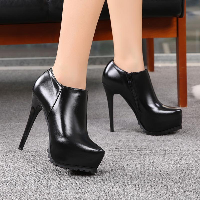 Fascinating2019 Fine 14cm Super High With Sharp High-heeled Shoes Waterproof Platform Single Shoe Woman Black Naked Boots Chalaza Autumn