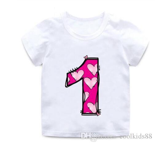 Новые мальчики и девочки с Днем рождения письма любовь милый принт Одежда дети смешные хлопчатобумажные футболки дети номер 1-9 подарок на День Рождения