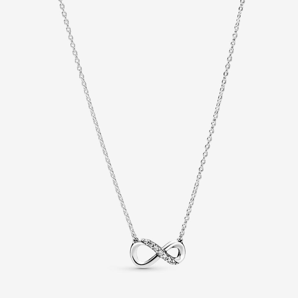 New Arrival 100% 925 prata Sparkling Colar Collier Infinito fazer jóias de moda para mulheres presentes frete grátis