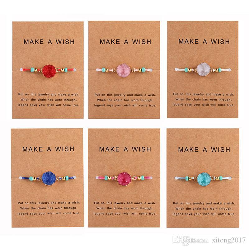 Braccialetto di pietra della resina druzy fatta a mano crea una cartolina del desiderio Corda di cera Braccialetti intrecciati Braccialetti con perle di riso per le donne Girls Estate Beach Jewelry