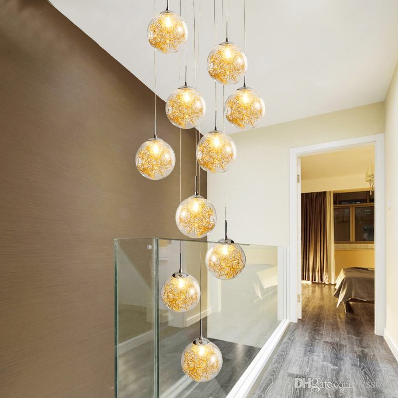 özel villa dairesel el deco Sanat yüksek tavanlı ev avize modern ışıklar merdiven asılı yuvarlak cam spiral şişmiş