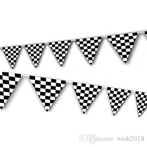 Banderas a cuadros en blanco y negro de 100 pies Banners de banderín de carreras de NASCAR para fiesta infantil