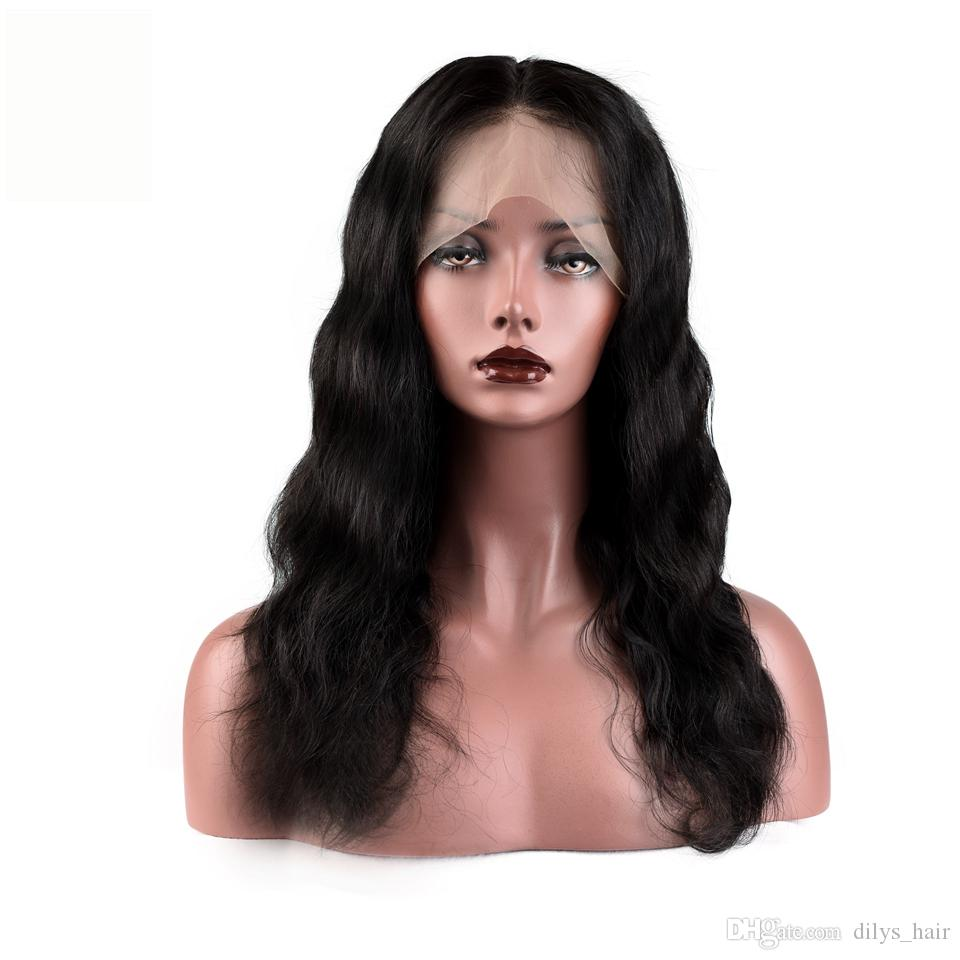 Тело волны 360 градусов кружевные фронтальные парики бразильские малазийский индийский 100% человеческие волосы натуральный цвет 8-24 дюйма