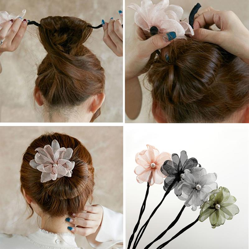 Fashion Women Hair Accessories Headbands Lace Flower Pearl New Hair Bun Maker Donut Hairbands Curler Roller Headband Hair Wraps