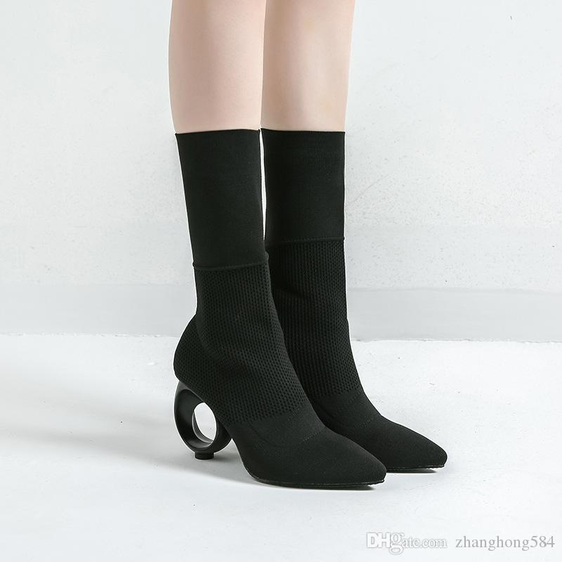 Factory direct sale New winter pointed high-heeled children in Europe and the short boots joker knitting boots in tube rubber boots