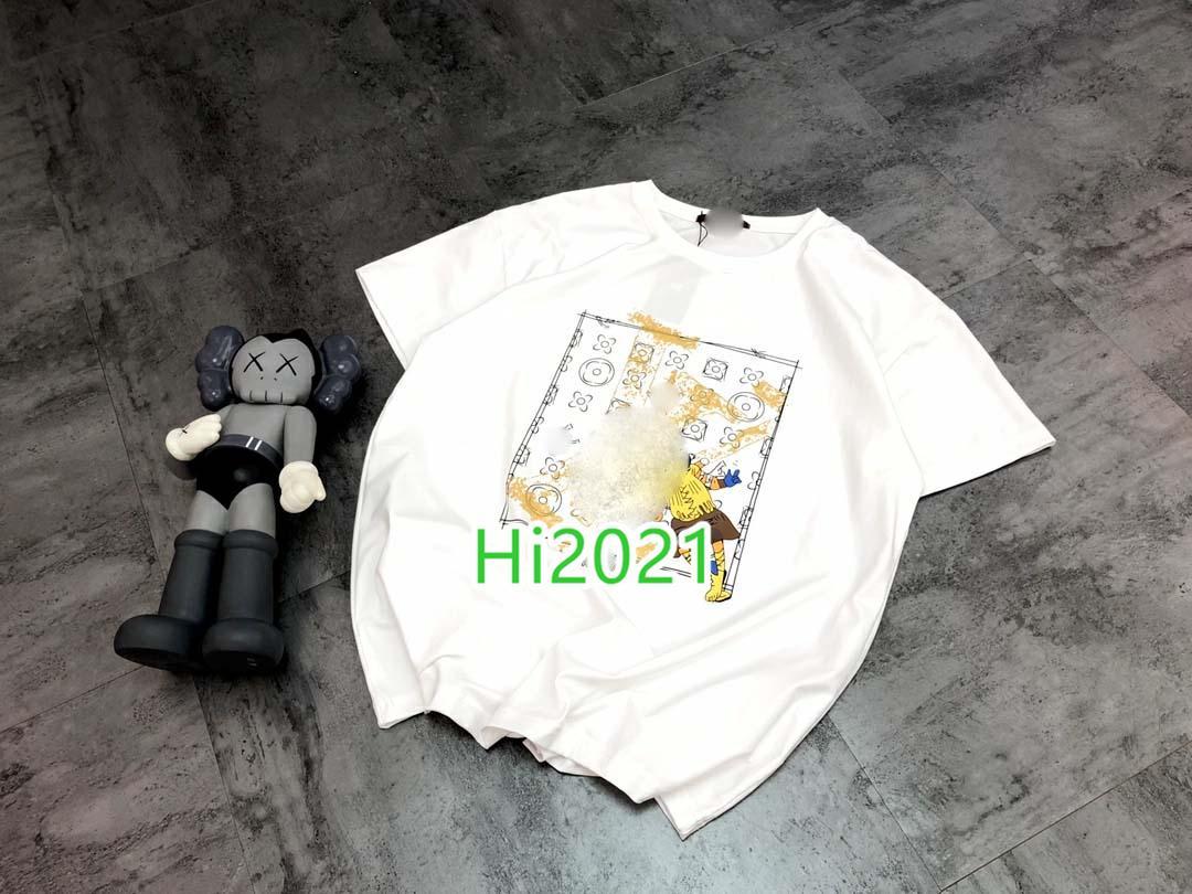 muchachas de las mujeres de gama alta casuales de algodón camiseta impresa letra del monograma de la tripulación del cuello de la manga jersey corto blusa 2020 tapas de la manera diseño de gran tamaño