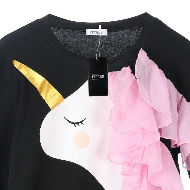 0-6 Jahre Kleinkind-Kind-Baby-Einhorn Sweatshirts Baumwolle Langarm Spitze kräuselt Tops neugeborene Kind-Herbst-Sweatshirt Warm