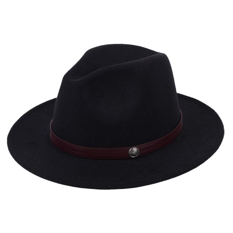 Unisex Mens Women Vintage Luxury 100/% Wool Big Brim Cow Boy Fedora Hat 4 Sizes