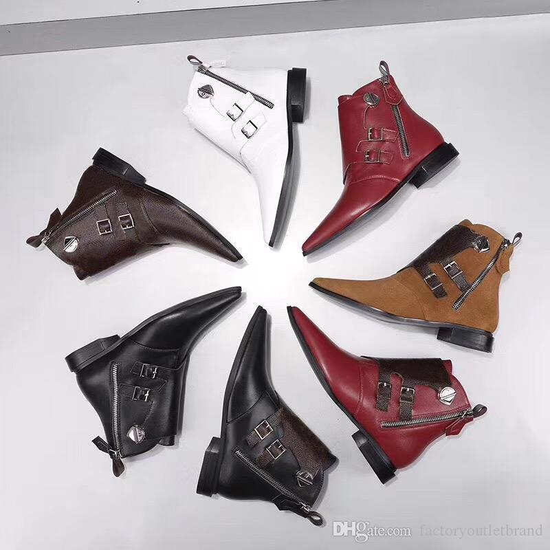 gute Qualität Designer Jumble Flach Stiefelette Martin Stiefel für Frauen Kalbsleder Winterstiefel spitzen Zehe Sexy Schuhe mit Kasten