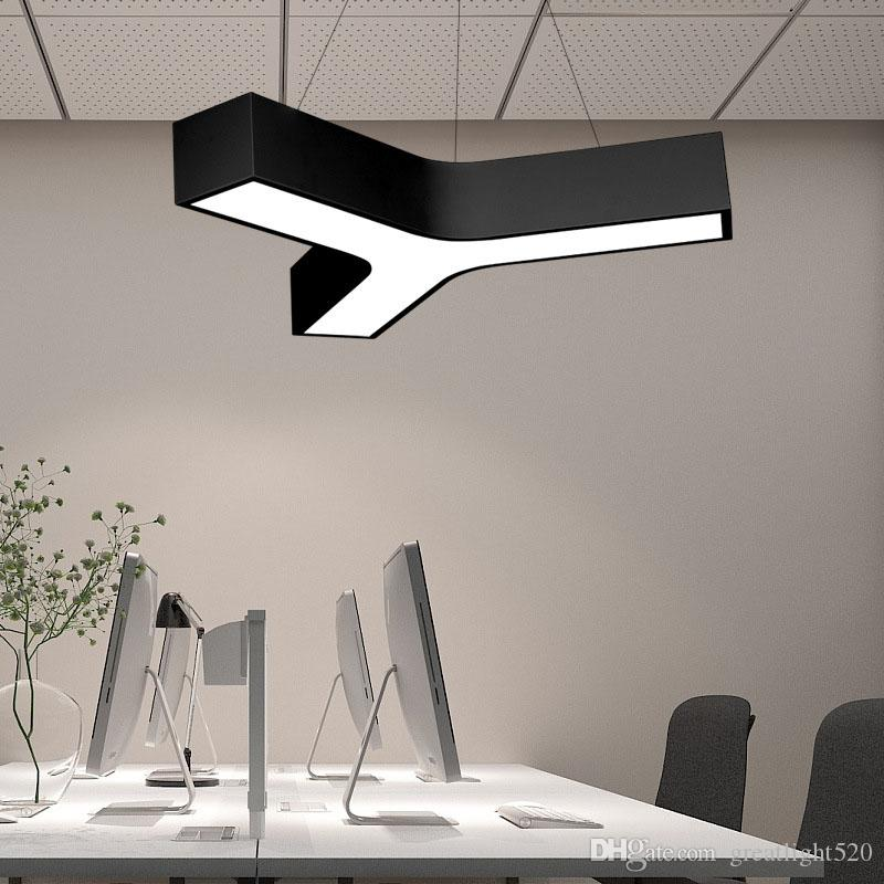 Y shape LED Pendant Light Office Herringbone Aluminum LED Ceiling Lamp Fixture