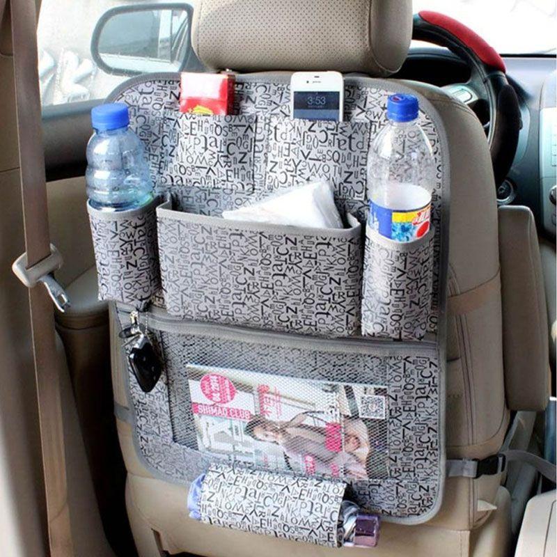 Assento Auto Classic Car Voltar Pendurado saco de armazenamento à prova d'água Fabric Multi-bolso Titular Pouch beber Phones tecido organizador Bags