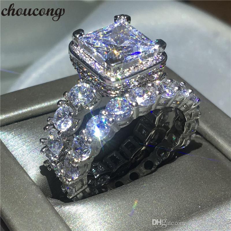 خاتم choucong خمر مهد إعداد الماس تشيكوسلوفاكيا 925 فضة خطوبة زفاف باند خواتم مجموعة للنساء الزفاف بيجو