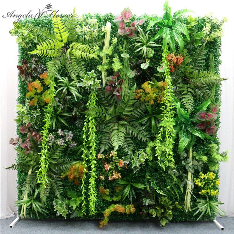 40x60cm DIY green artificial plant wall panel plastic outdoor lawns carpet decor wedding backdrop party garden grass flower wall