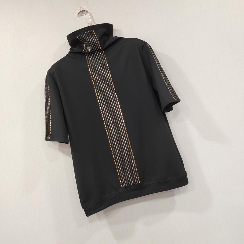 2020 두 조각 바지 로마면 t- 셔츠 여성 핫 드릴링 다이아몬드 t- 셔츠 터틀 넥 T 셔츠 느슨한 짧은 스웨터 셔츠 플러스 사이즈상의