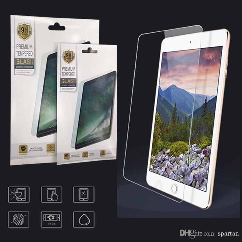 iPad Air 4 2 3 5 6 7 8 Pro 11 Mini 4 5 새로운 10.2 인치 강화 유리 방지 0.3mm 스크린 프로텍터 필름 종이 소매 패키지