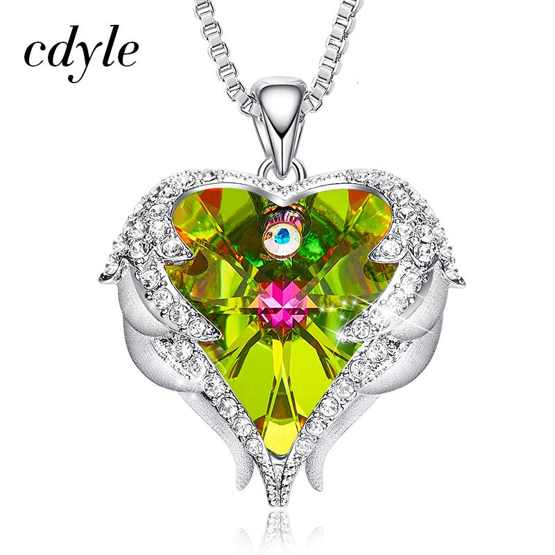 Cdyle Fashion Women Copper Material Necklace with Colorful Crystal Angel Wings Heart Pendant Necklace Birthday Party Gift SH190930