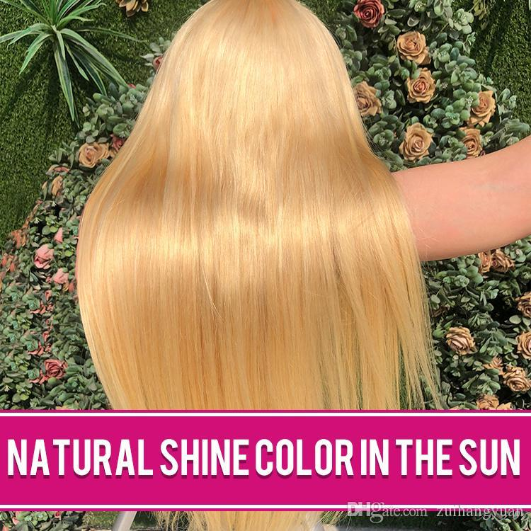 Beautiful Silky Straight 613 Blonde Full Lace Human Hair Wig with Baby Hair 150%Density Natural Hairline Bleached Knots For Women