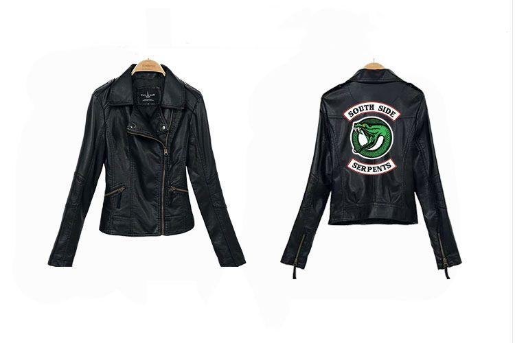 Lady Fashion Short Jacket Leather Clothing RIVERDALE Southside Serpent Printing High Quality PU Leather Jacket Casual Sweatshirts