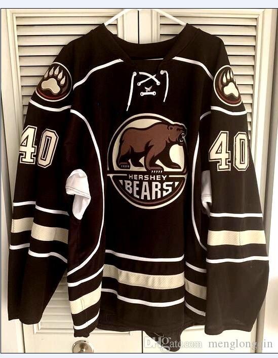 Hershey Bears # 40 Caleb Herbert Hokey Forması Erkek Nakış Dikişli Herhangi bir numara ve ad Formalarını Özelleştirme