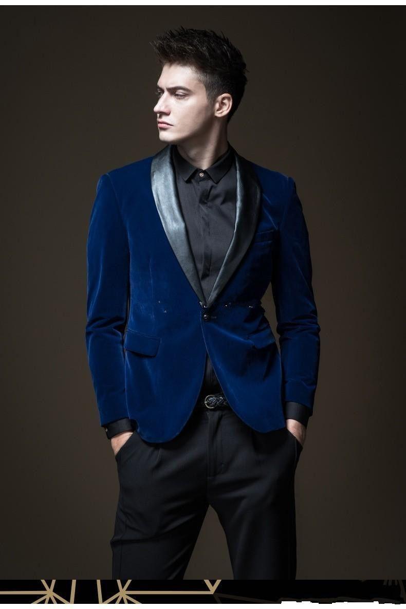 새로운 잘 생긴 뒤 통풍구 한 단추 블루 벨벳 웨딩 신랑 턱시도 어깨 걸이 옷깃 Groomsmen 남자 복장 댄스 파티 재킷 (자켓 + 바지 + 타이) 235