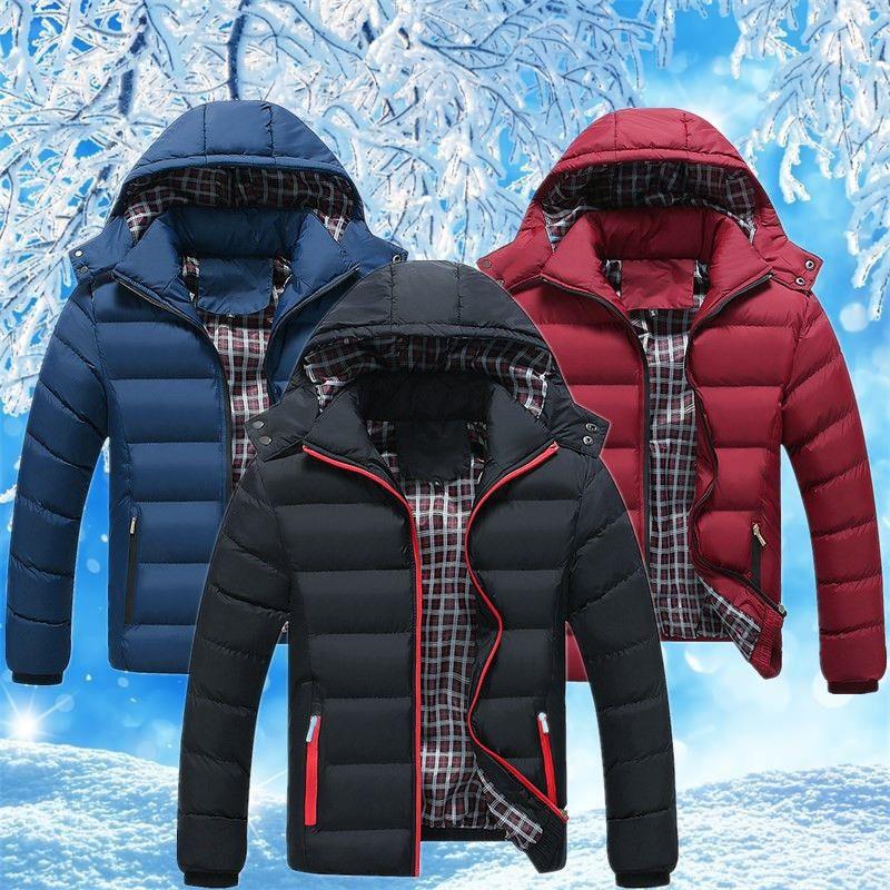 Men Winter Casual New Hooded Thick Padded Jacket Man Zipper Slim Coats Mens Parka Outwear Warm Windbreaker Homme Clothing