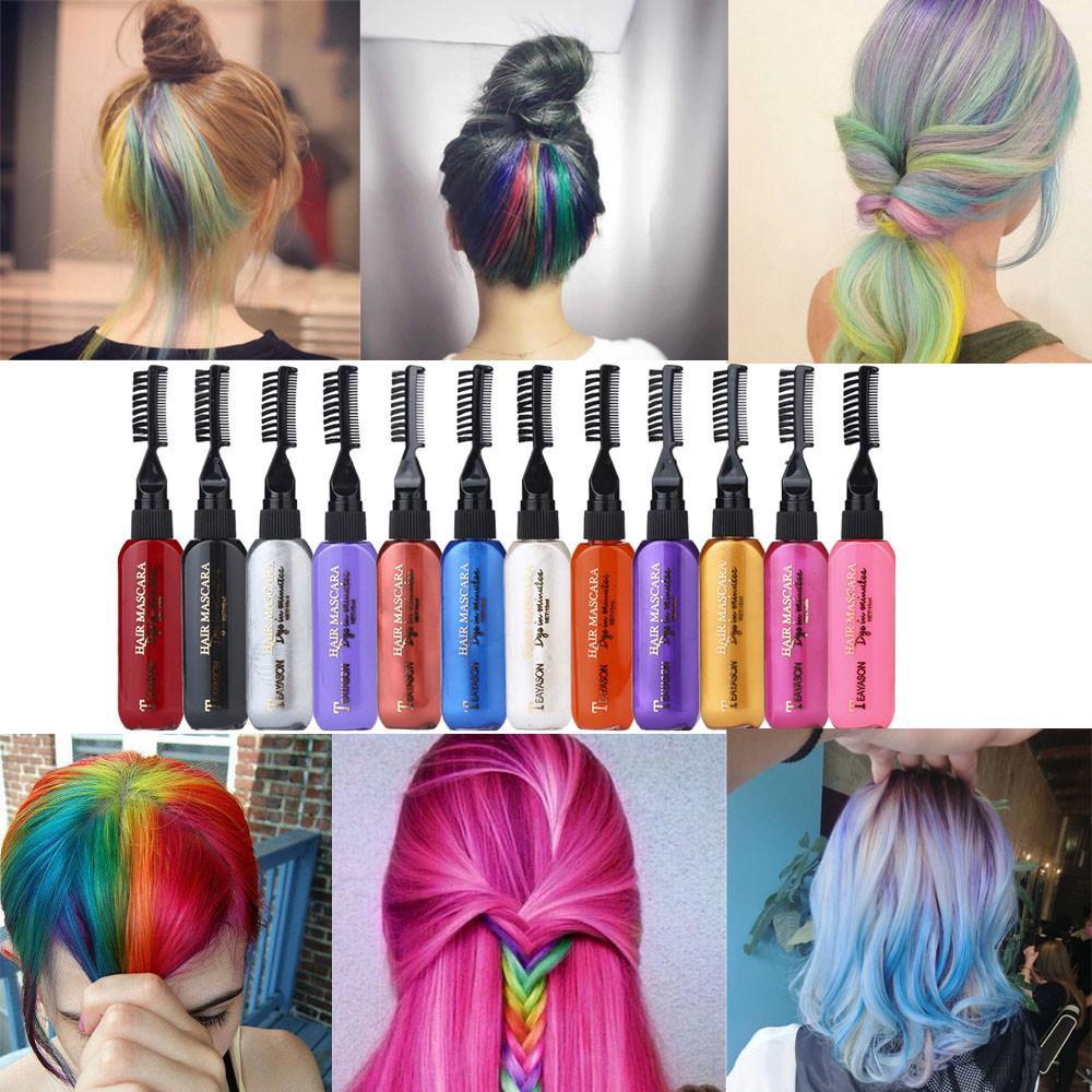 Mascara cheveux temporaire Couleur craie 8 couleurs instantanément craies Hair Dye Touchup Mascaras cadeau parfait pour les filles Enfants Femmes
