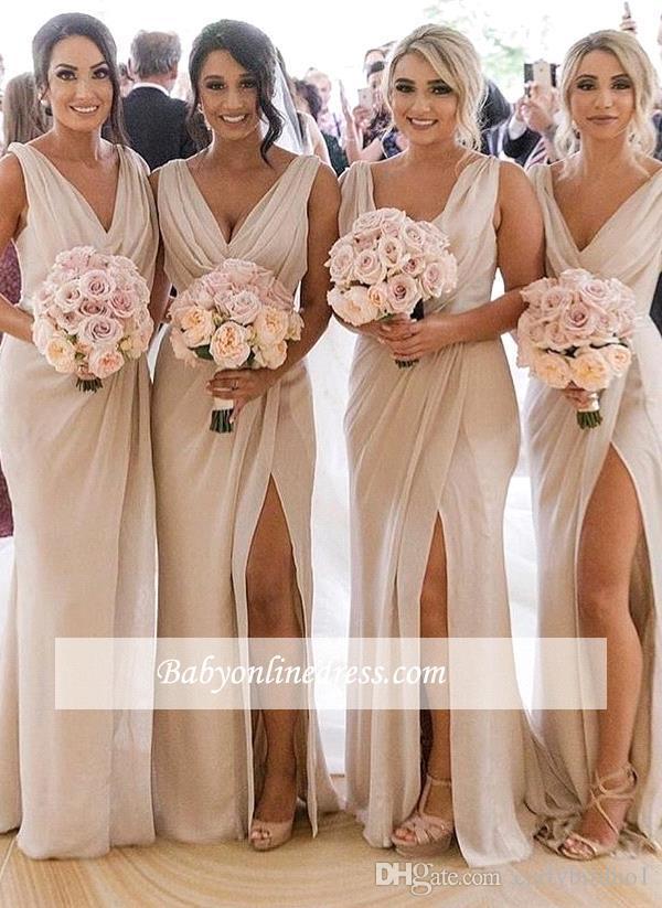 Champagne barato vestidos de dama de gasa cuello en V profundo Frente hendidura lateral alta de Split más el tamaño de dama de honor vestido de boda vestido de visitantes BC0219