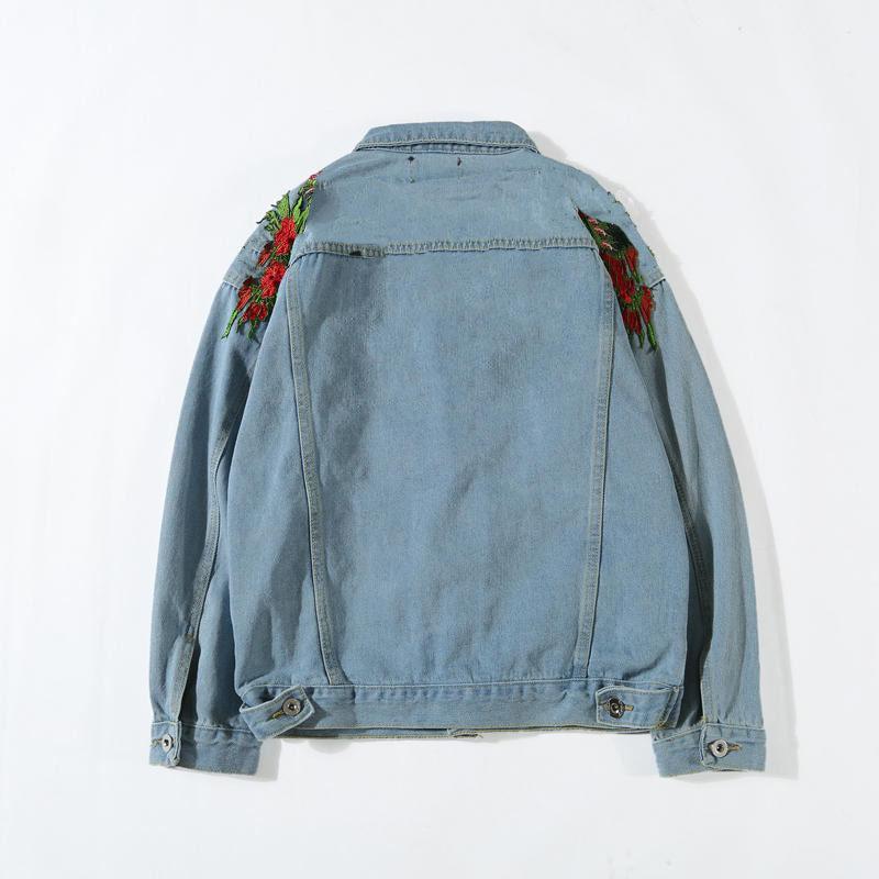 Erkek Denim Ceket Moda Tasarımcısı Ceket Sonbahar Marka Motosiklet Nedensel Erkekler ve Kadınlar Lüks Denim Ceket Vintage Stil Gök Mavisi Denim