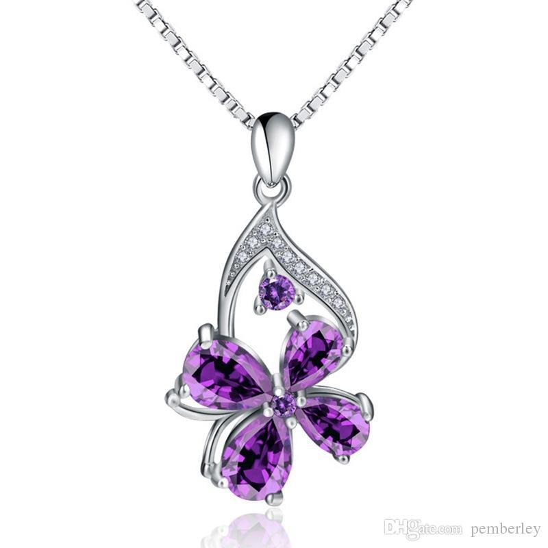 D472-2 Neue Design Amythest Anhänger Halskette Mode Frauen silber weibliche Top Qualität lila klee kristall Schmuck Kostenloser Versand