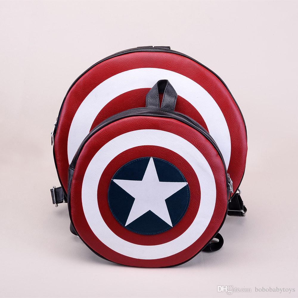 Más nuevo Diseño Mujeres Hombres niños Unisex Moda Mochila Ronda PU de cuero niñas Viajando Bolsa Capitán América Mochila Bolsa para dama
