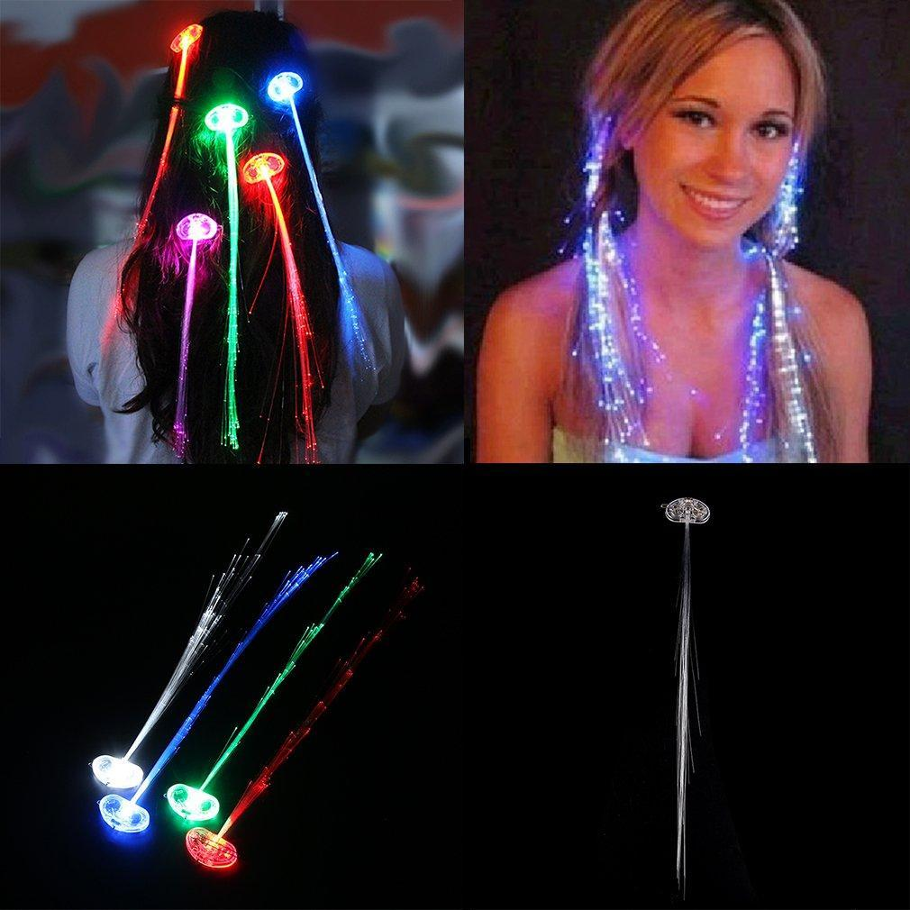Multicolor Color Change Led Flashing Fiber Optic Hair Braid Barrettes Lights For Party Light Up Headband Styling Accessory JiXUO
